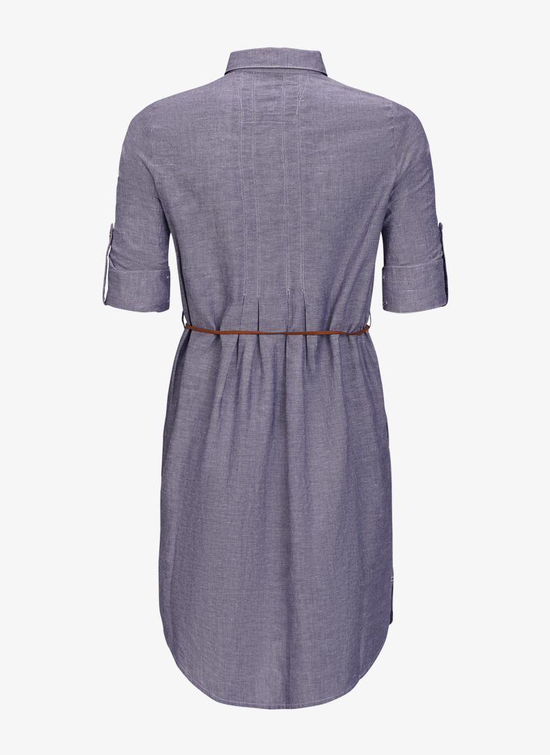 W Linen Pleat Shirt Dress