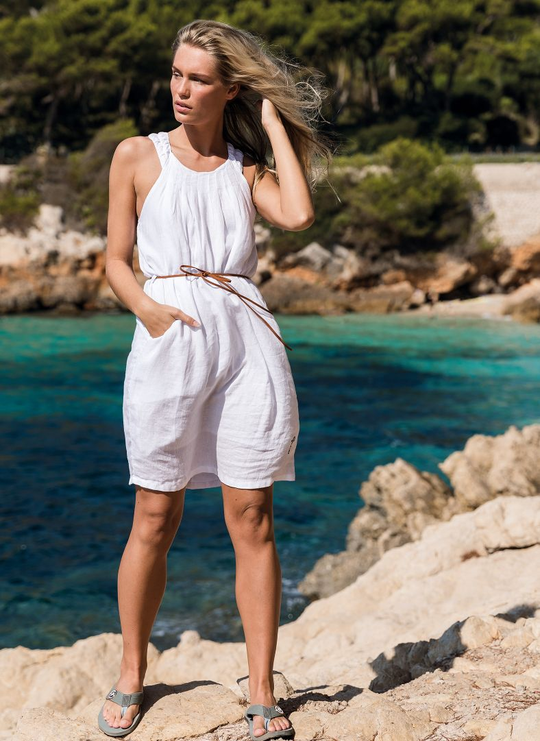 W Linen Pleated Dress