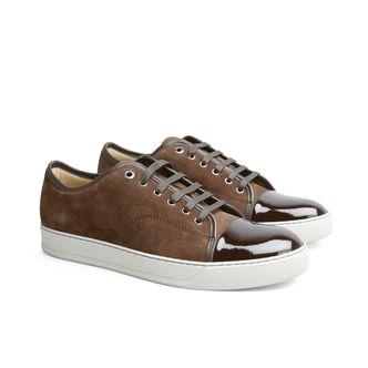 Lanvin Patent Captoe sneakers i mocka, herr