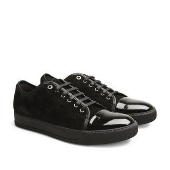 Lanvin Patent Cap-Toe sneakers i mocka