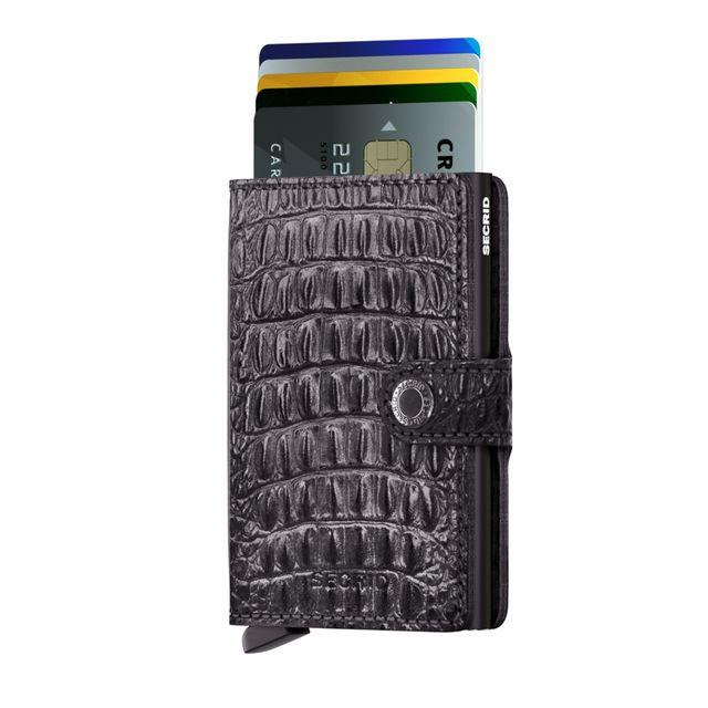 Secrid liten plånbok i skinn och metall