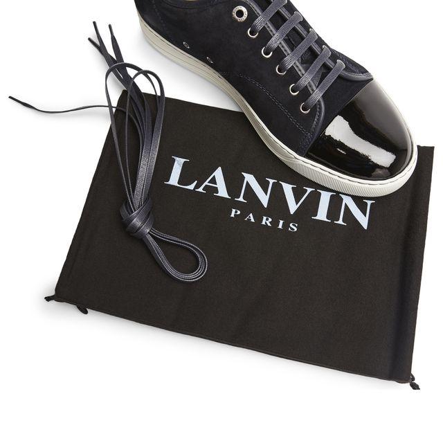 Lanvin Patent Captoe sneakers i mocka