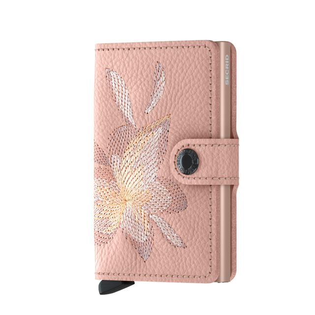 Secrid Miniwallet Stitch liten plånbok i skinn och metall