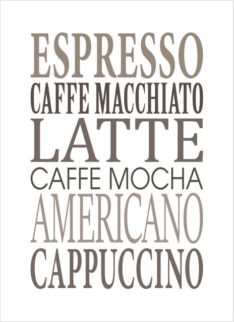 Different coffee text poster