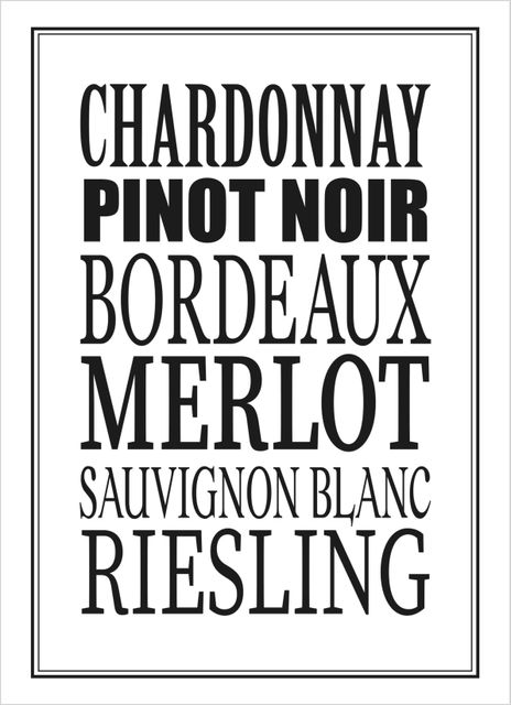 Different wine text poster
