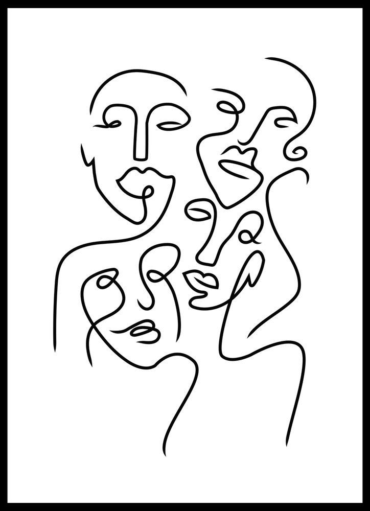 Ansikten abstrakt poster