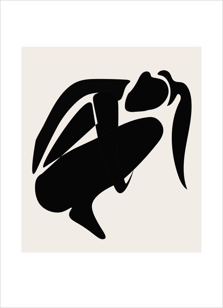Hukande Kvinna Abstrakt Poster