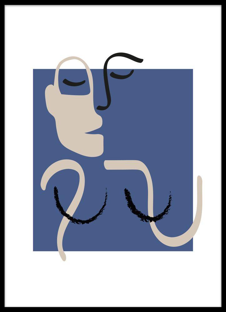 Abstrakt Kvinna Blå No1 Poster