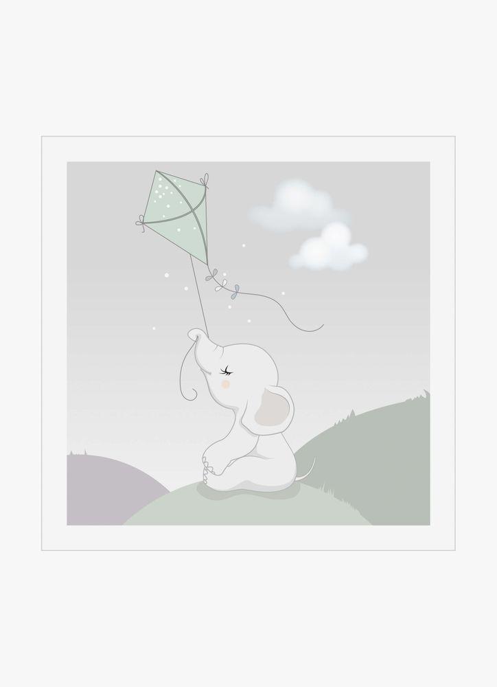 Babyelefant flyger drake poster