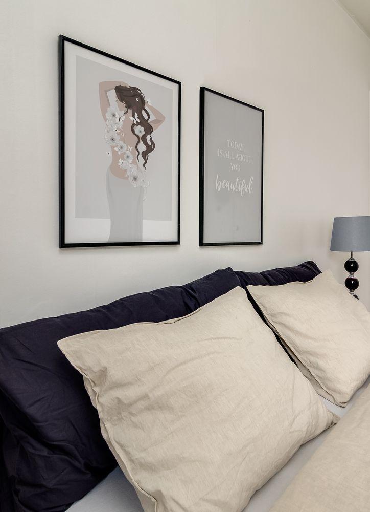 Sovrum elegant tavelvägg