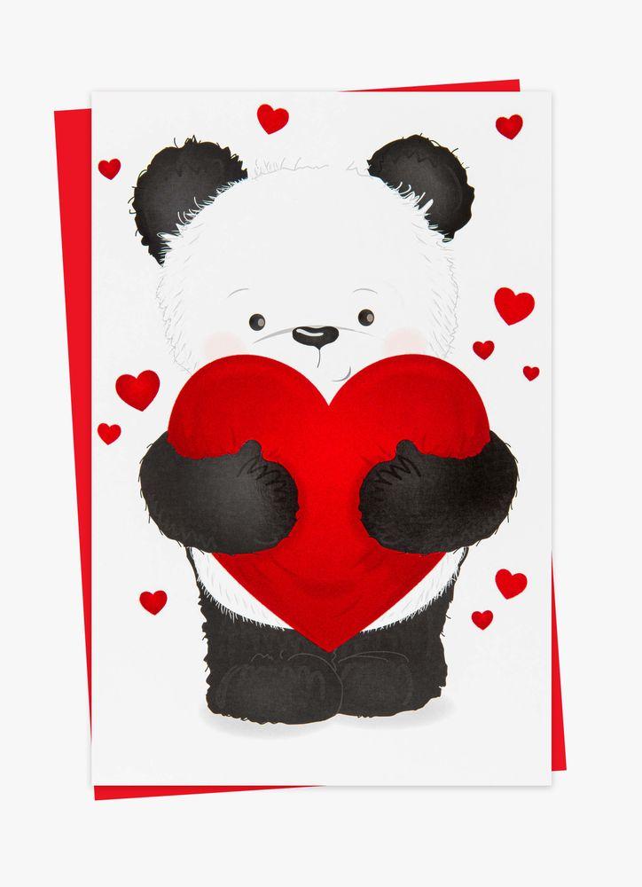 Panda med hjärta gratulationskort