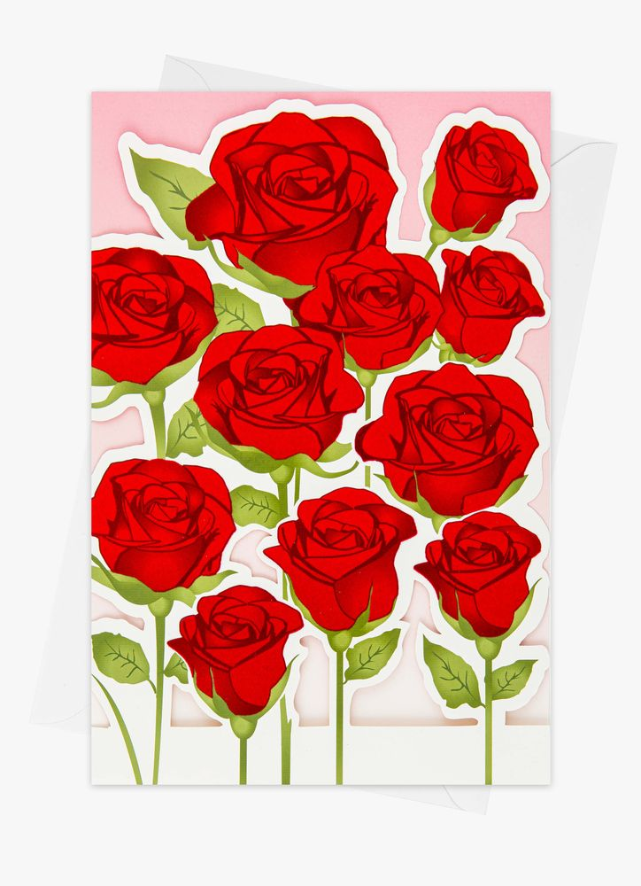 Stora vackra rosor gratulationskort