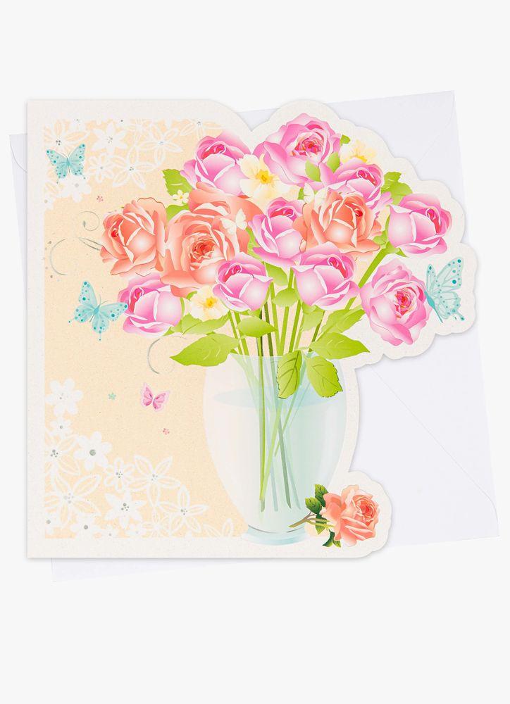 Stort gratulationskort rosor i vas