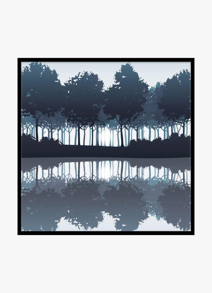 Träd och sjö blå poster