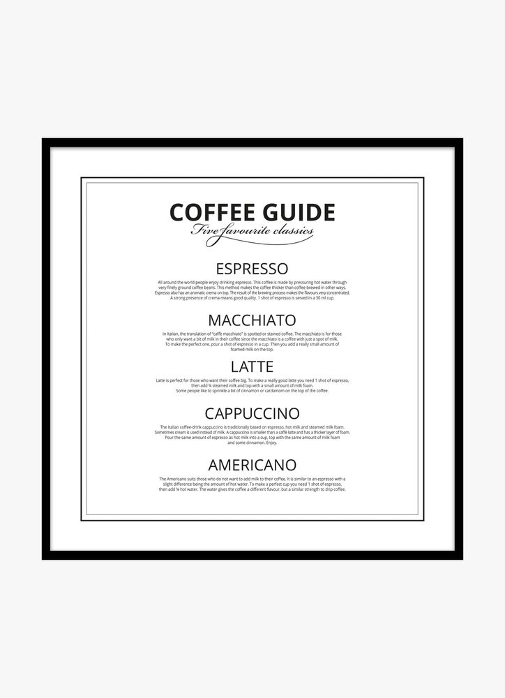 Coffee guide black and white text poster