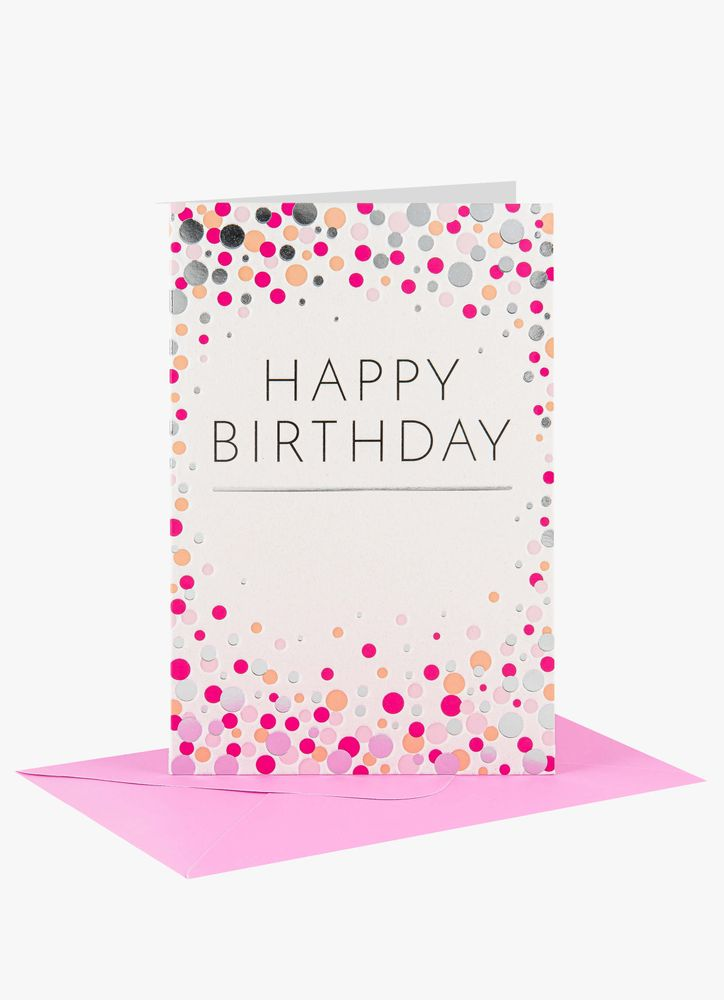 Happy Birthday konfetti kort