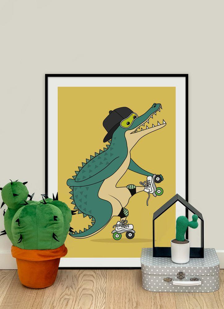 Krokodil på rullskridskor poster