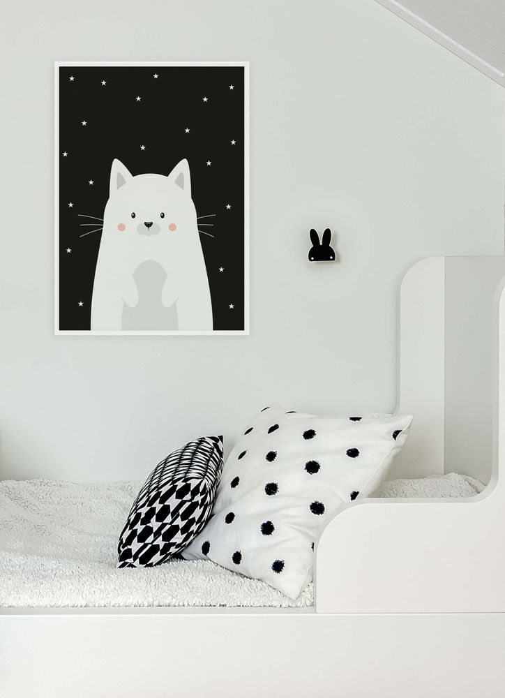 Gullig vit kattunge poster