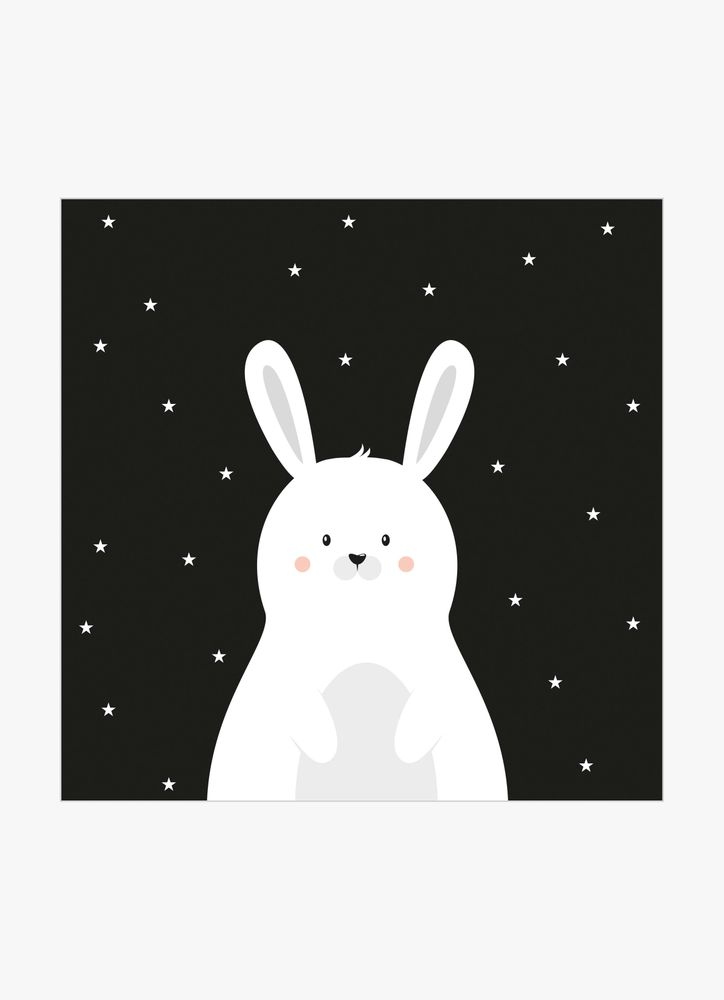 Gullig vit kanin poster