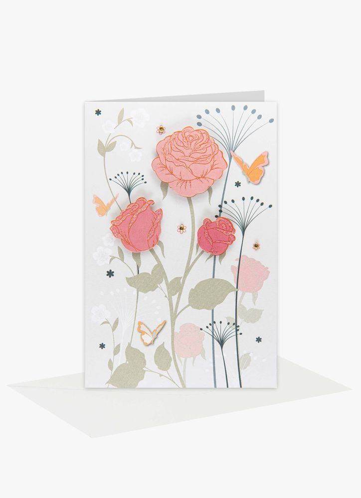 Eleganta Rosor Gratulationskort