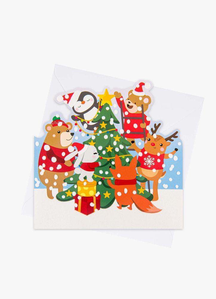 Tecknade djur klär granen julkort