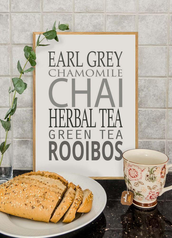 Different tea text poster