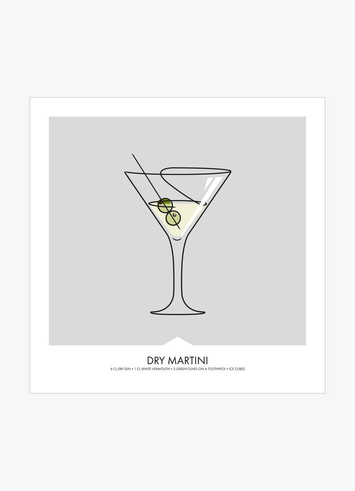 Dry martini drink poster