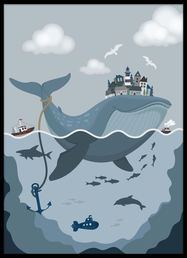 Fairytale whale poster