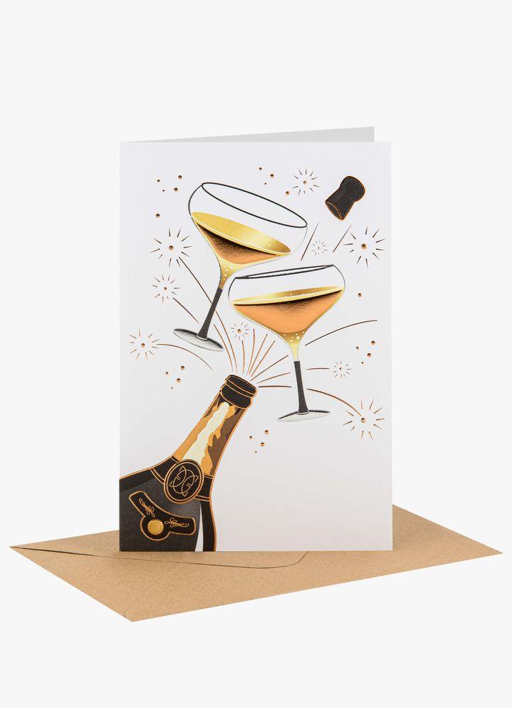 Skålande Champagneglas Gratulationskort