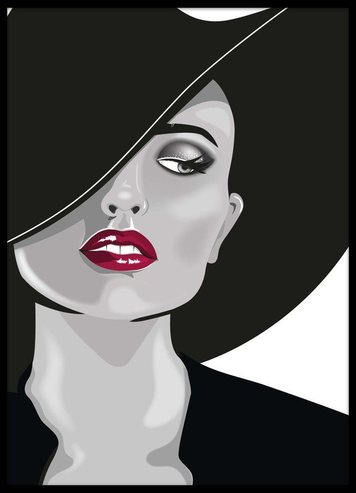 Tecknad kvinna i hatt poster
