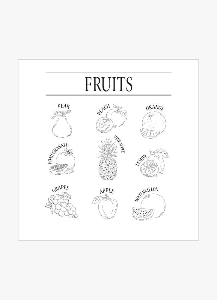 Frukt svart & vit poster