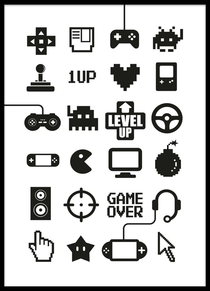 TV-spel ikoner multi poster