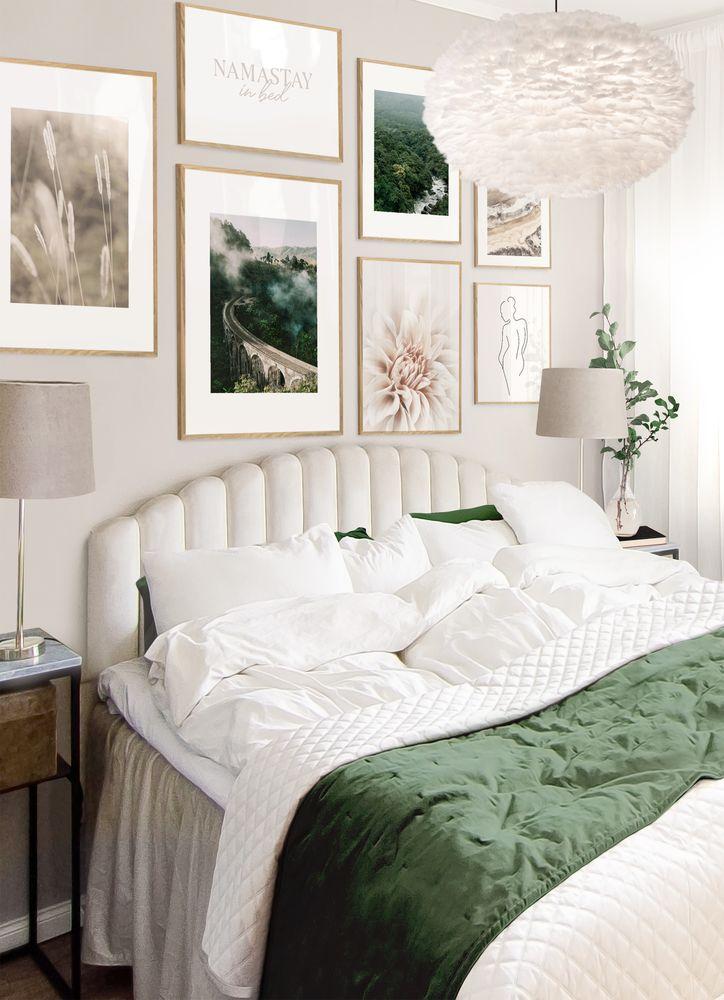 Green bedroom gallery wall