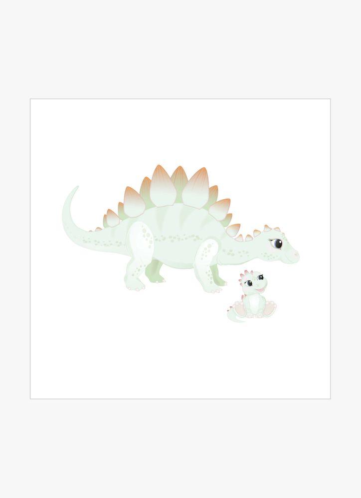 Grön stegosaurus dinosaurie poster