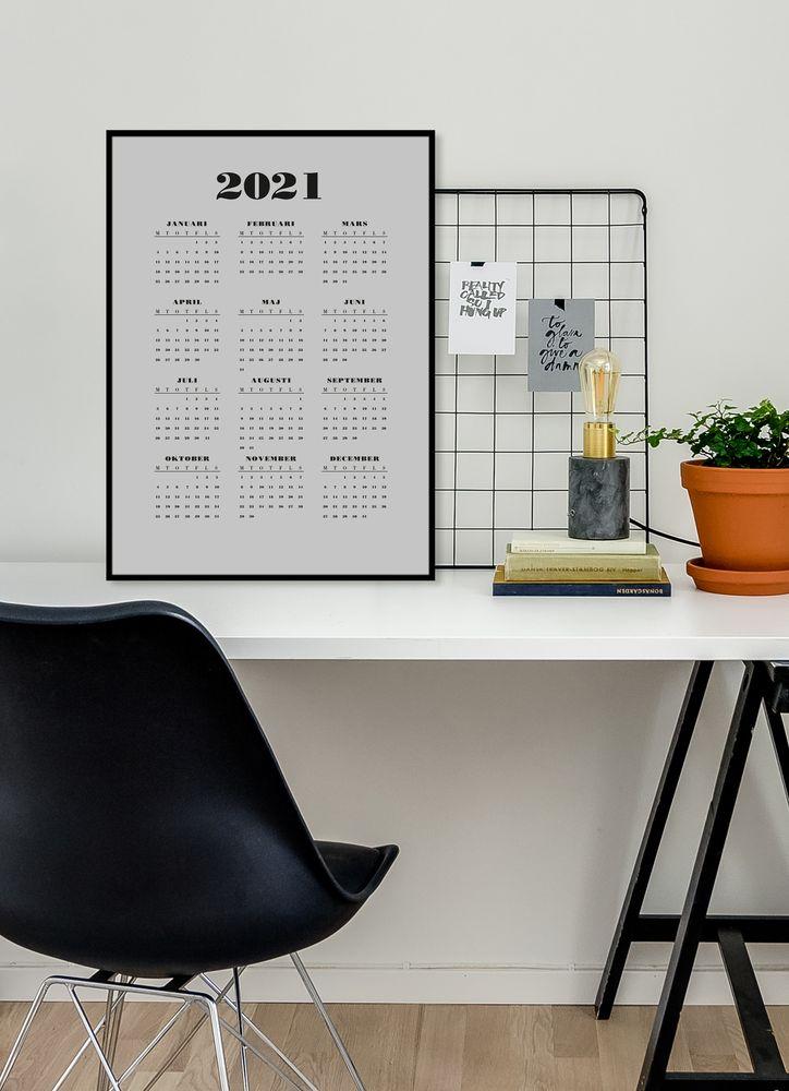 Grå kalender poster