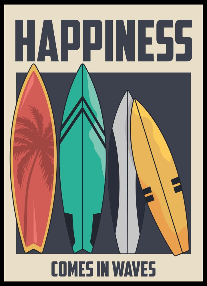 Happiness comes in waves surfboards colour text poster