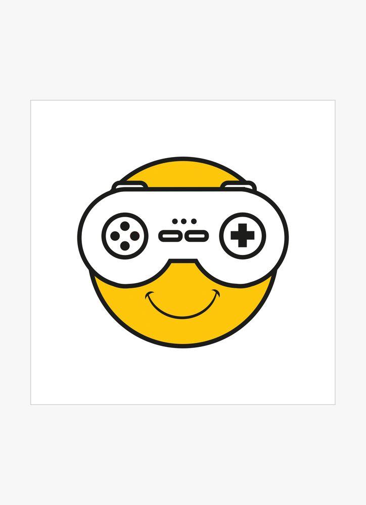 Glad figur med TV-spelskontroll poster