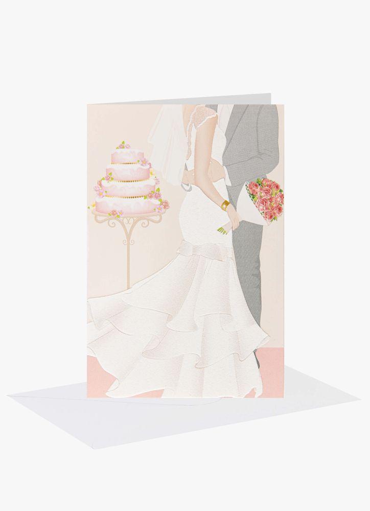Bröllopspar vid tårta Bröllopskort