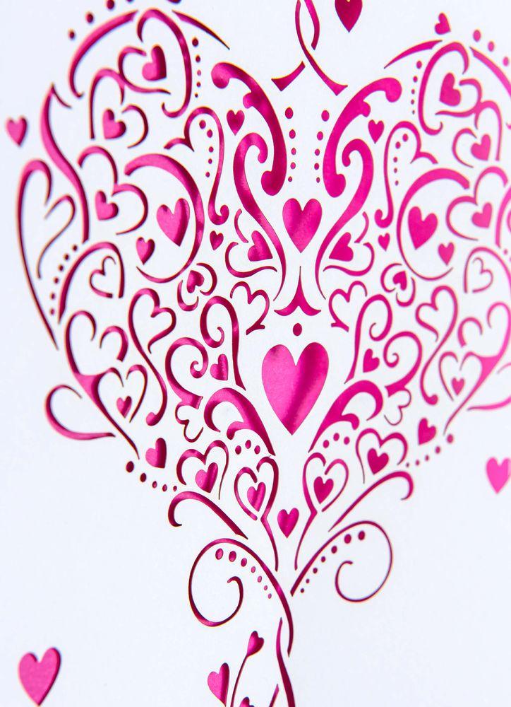 Laserskuret Hjärta Gratulationskort