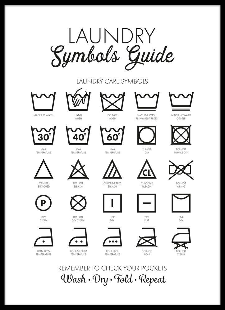Tvättsymboler svartvit poster
