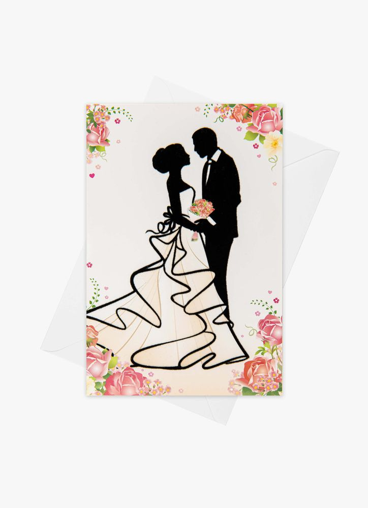 Bröllopspar siluett Bröllopskort