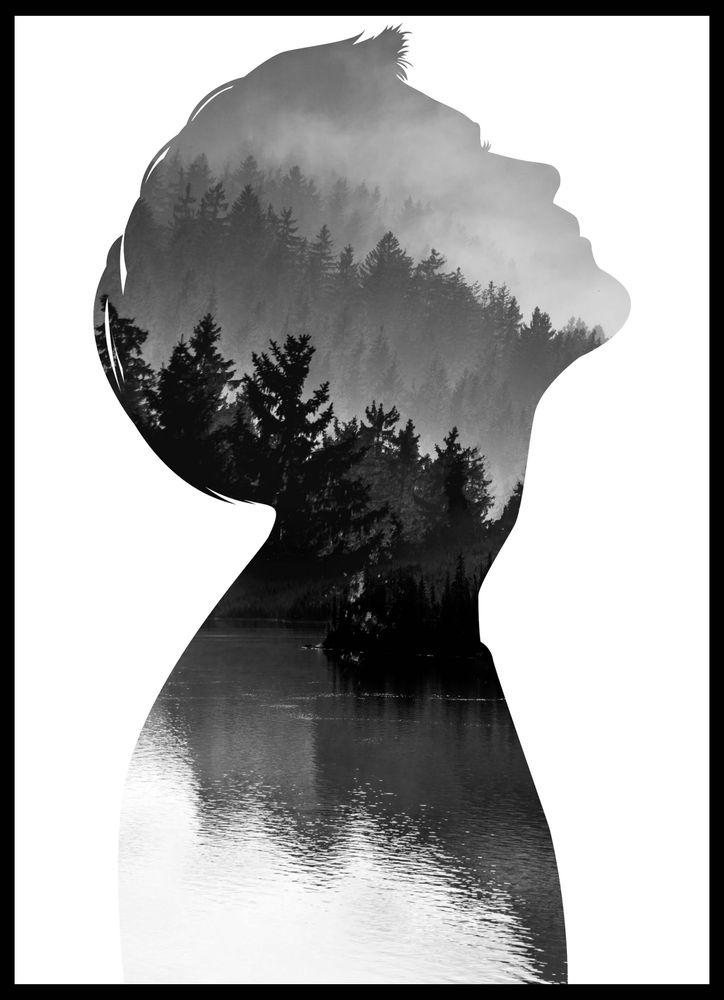 Mindfullness Siluett Man Poster