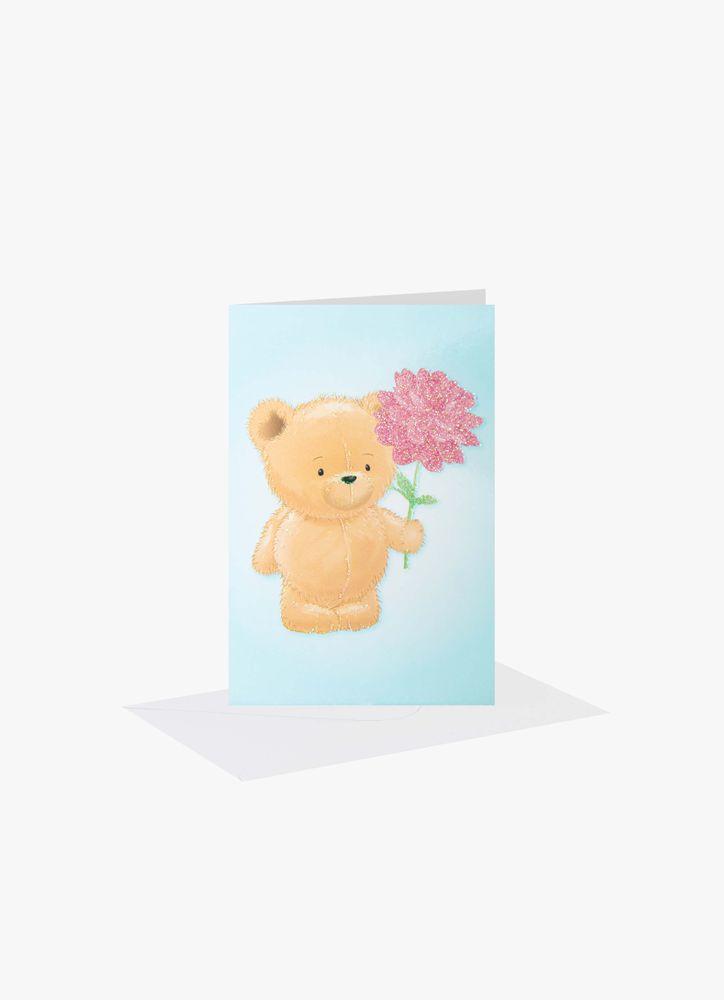 Nalle med blomma minikort