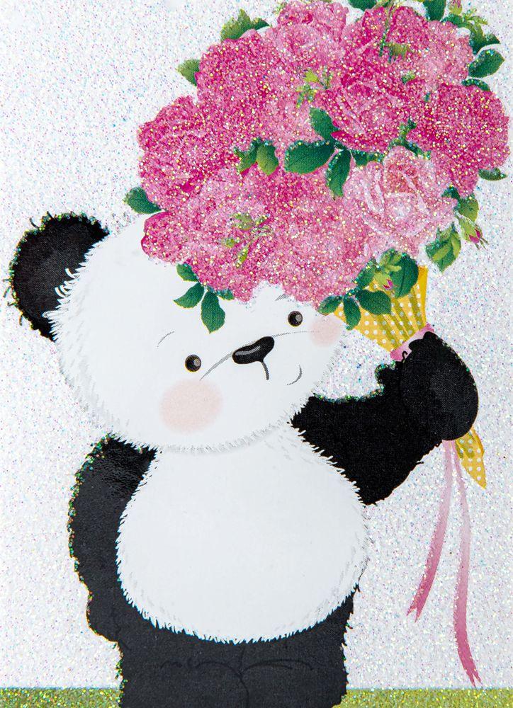 Panda med rosor minikort