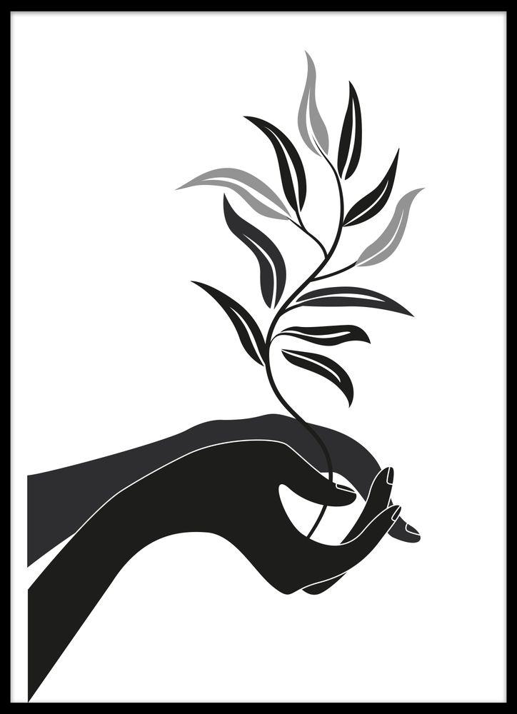 Moder jord Händer svartvit