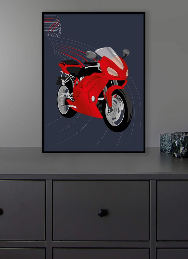 Motorcykel röd poster