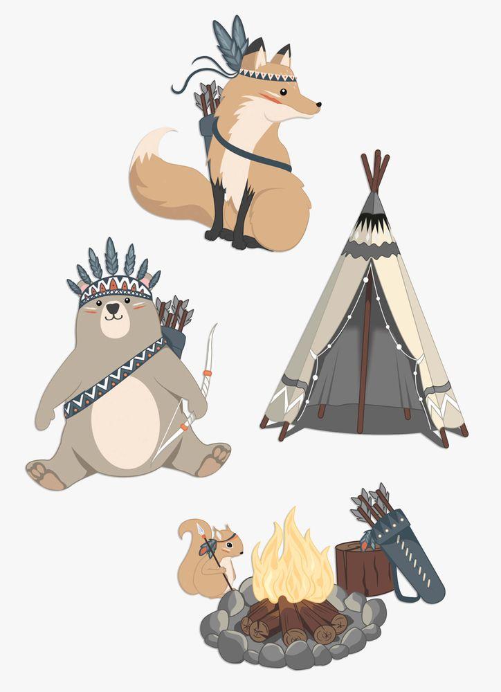 Djur vid lägereld väggdekor