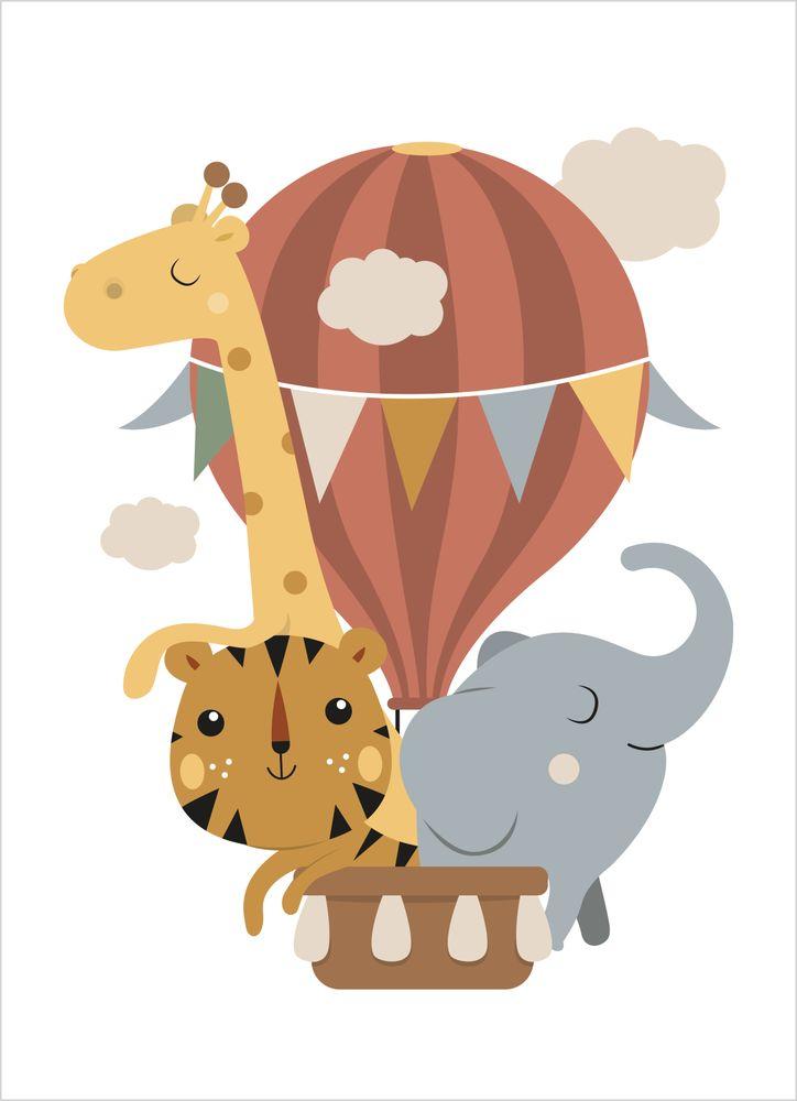Luftballong med vänner Natur Poster
