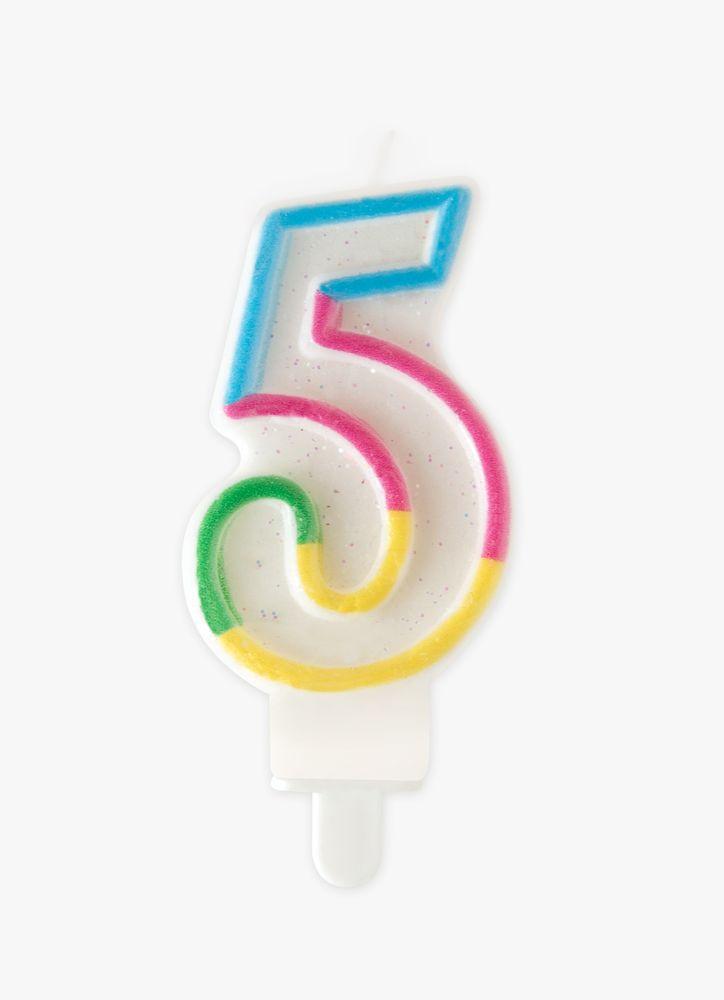 Tårtljus Siffra 5 Regnbåge