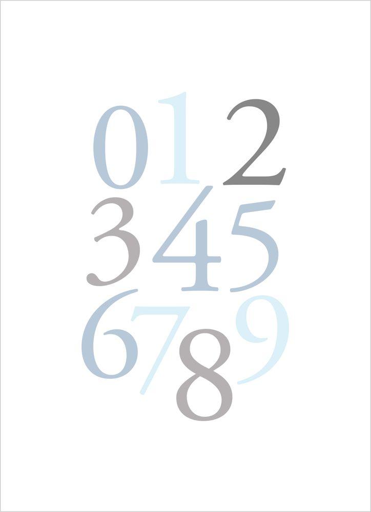 Siffror blå poster